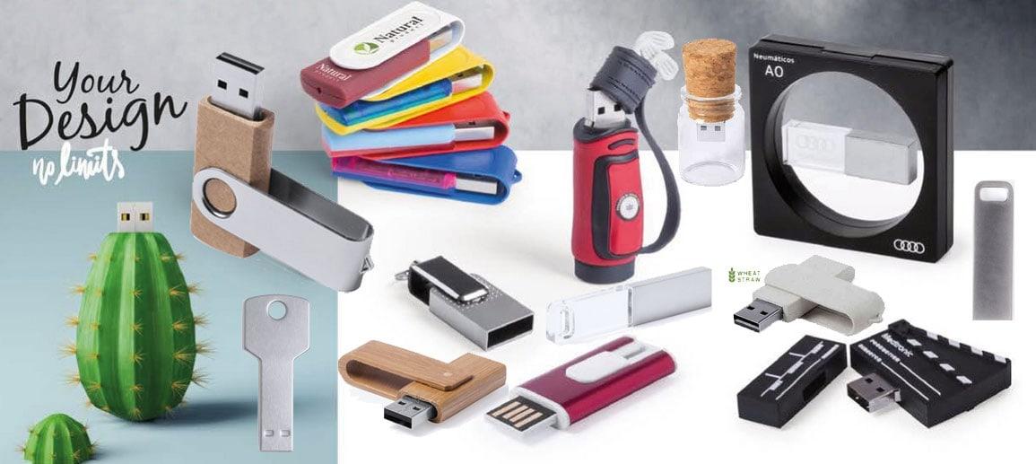Diferentes modelos de USB promocional y USBs personalizados para regalo de empresa o material corporativo.