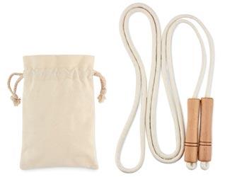 Cuerda de saltar ecológica, en bolsita de algodón personalizable.