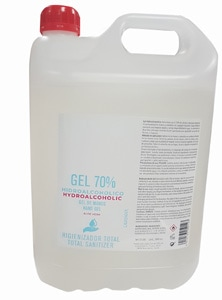 Gel hidroalcoholico desinfectante con Aloe Vera en garrafa de 5L para empresas