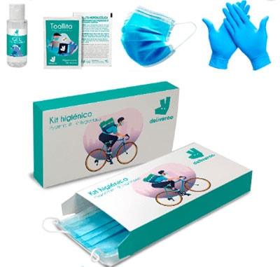 Kits de protección higiénica compuesto de un gel hidroalcoholico desinfectante de 30 ml, una toallita desinfectante, una mascarilla quirúrgica y un par de guantes. Presentado en caja de cartón totalmente personalizada.