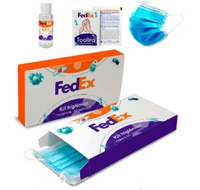 Kit sanitario de protección higiénica compuesto de un gel hidroalcoholico desinfectante de 30 ml, una toallita desinfectante, una mascarilla quirúrgica. Presentado en caja de cartón totalmente personalizada.