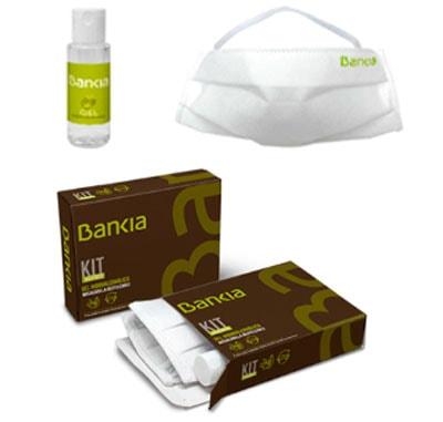 Kits de protección higiénica personalizados, compuestos de una mascarilla higiénica personalizable y un bote de 30 ml de gel hidroalcohólico. Presentado en caja de cartón totalmente personalizada.