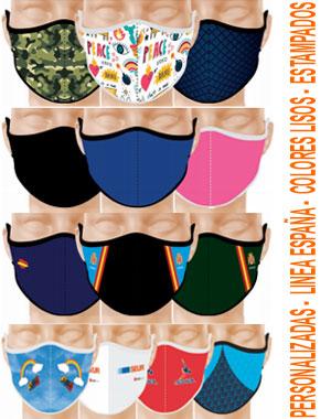Mascarillas de neopreno de fabricación española, con distintos diseños y colores.