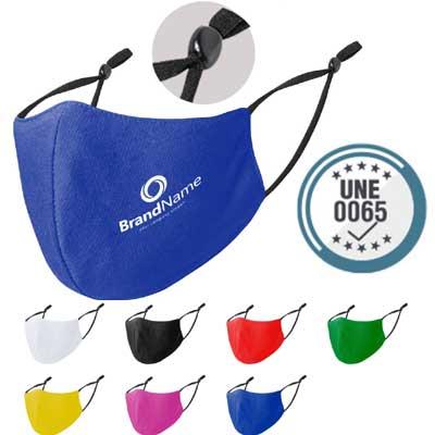 Mascarillas reutilizables ajustables, en tela de diferentes colores y personalizables.