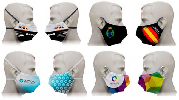 Ejemplos de diseños de personalización para las mascarillas reutilizables con equivalencia FFP2 certificada, con acabado en pespunte y marcaje a sangre.