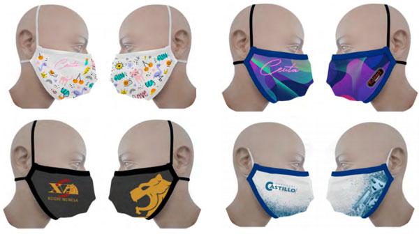 Ejemplos de diseños de personalización para las mascarillas reutilizables con equivalencia FFP2 certificada, con acabado en ribete.