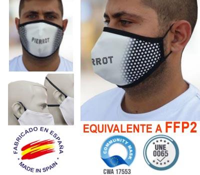 Mascarilla FFP2 reutilizable, con equivalencia de filtración FFP2, fabricada en España con doble capa de poliester antibacteriano e hidrófugo. y personalizable a todo color en toda la superficie.