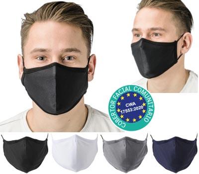 Mascarilla de algodón reutilizable con 5 capas interiores de filtro Melt Blown y pinza de ajuste para la nariz.