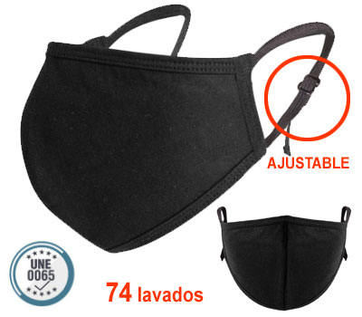 Mascarilla de tela reutilizable con filtro Meltblown y gomas ajustables a las orejas.