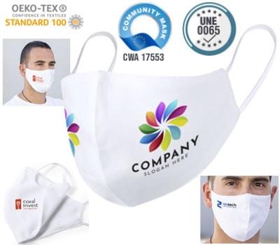Mascarillas REUTILIZABLES de poliester hidrófugo y antibacteriano, personalizables para empresas.