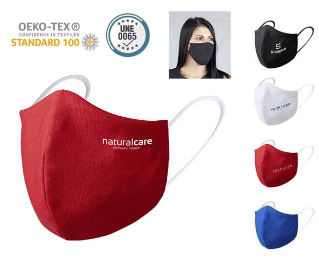 Mascarilla higiénica reutilizable y personalizable con el logo de tu negocio.