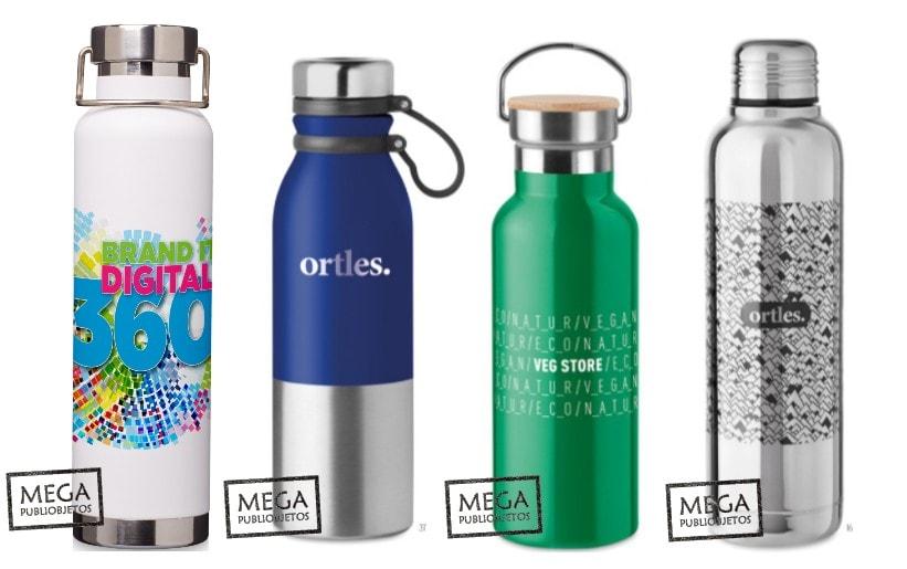 Varios modelos de termos publicitarios con diferentes opciones de marcajes de personalización.
