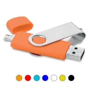 Memoria USB OTG con doble conexión, una conexión USB y otra micro USB para dispositivos Android.