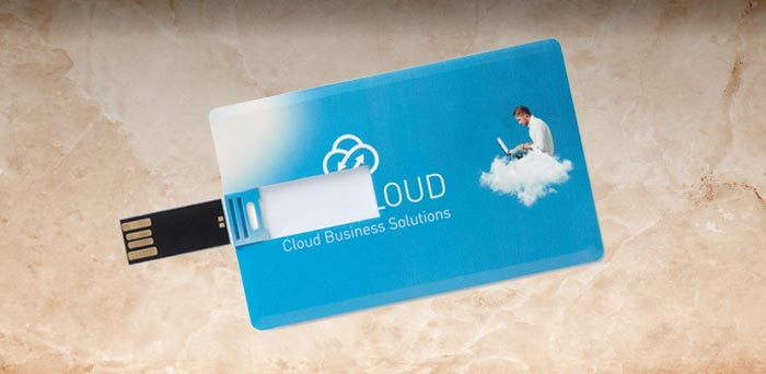 Memoria USB personalizable con forma de tarjeta de crédito, para regalo de empresa.