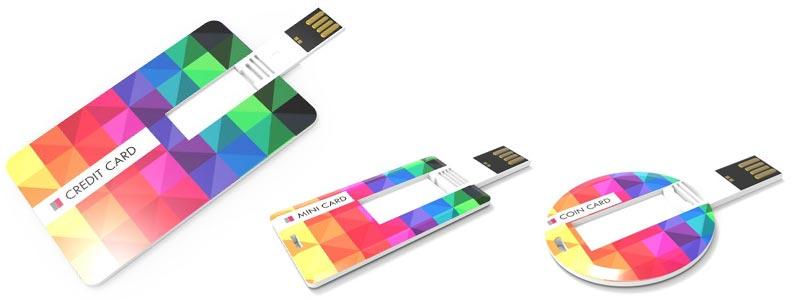 Memorias USB extraplana con con forma tarjeta, mini tarjeta y moneda circular.