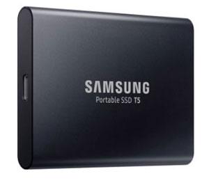 Disco duro externo Samsung SSD T5 de alta velocidad de transferencia de datos para almacenamiento externo. Con diseño compacto y robusto, y protección por contraseña.