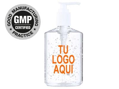 Bote de gel hidroalcoholico desinfectante de manos de bolsillo, de 240ml y dosificador de pulsación.