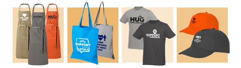 Delantales, bolsas, camisetas y gorras promocionales para merchandising para empresas.