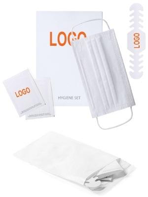 Set de prevención de contagios, con mascarilla higiénica, tira ajustadora de mascarilla, y 2 sobres monodosis de gel hidroalcohólico desinfectante, presentado en bolsa con autocierre reutilizable.